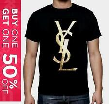 YVES SAINT LAURENT YSL PERFECT MENS T-SHIRT BLACK / GOLD TOP LOGO