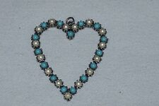 VTG HEART BEADED NECKLACE PENDANT RESIN FAUX PEARL TURQUOISE SILVER TONE BEADS