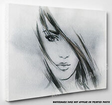 X LARGE Woman Portrait Face&Head Abstract Watercol Photo Canvas Print Wall Art
