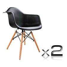 Set of 2 Retro Cafe Dining Chairs with Timber Legs Black White