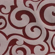 """Ruby Red White Wide Modern Scroll Upholstery Drapery Fabric By The Yard 54""""W"""