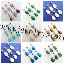 Mixed Stone Teardrop Dangle Pendant Fit European Bracelet Necklace 1pcs Or 6pcs