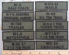 VARIOUS O.D. MILITARY VEHICLE TABS / PATCHES - MILITARY VEHICLE COLLECTING CLUB