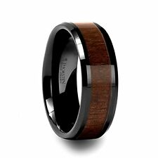 Beveled Black Ceramic Ring with Black Walnut Wood Inlay 8mm