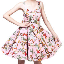 Women's 1960's Retro Floral Hepburn Style Vintage Sleeveless Party Swing Dress