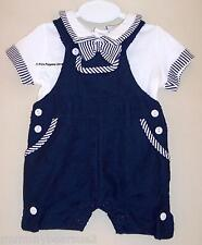 BABY BOYS DUNGAREE ROMPER TOP 2 PIECE SET NAVY WHITE NAUTICAL ANCHOR 0 3 6 9