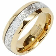 8mm Mens Tungsten Carbide Ring Meteorite Inlay 14k Gold Jewelry Wedding Band