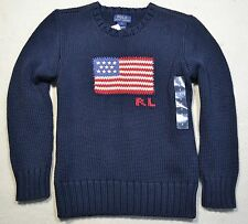 NWT BOYS POLO RALPH LAUREN CREW NECK USA NAVY LONG SLEEVE SWEATER SHIRT SZ 6, 7