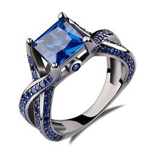 Princess Cut Blue Sapphire Engagement Ring 14k Black Gold Plating Sterling Silvr