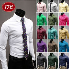 Mens Dress Shirt Casual Slim Fit Business Formal Western Office Polo Shirt Tops