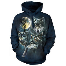 MOON WOLVES COLLAGE HOODIE The Mountain Howling Wolf Hooded Sweatshirt S-2XL NEW