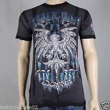 Affliction Rebel Rouser A9585 Mens T-shirt Tee Black Seam Wash