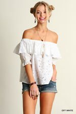 UMGEE Ruffled White Eyelet Fabric Off The Shoulder Top S~M~L