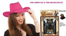 Pistol Gun Set & Pink Cowboy Stetson Hat Wild West Cowboy Fancy Dress Costume