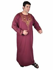 Men's Embroidered Arabian Thobe Caftan Summer Dress Dishdasha Muslim Garment