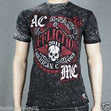 Affliction AC LIVE FAST SEAL A7948 Men's T-shirt Tee Black/White Lava Wash
