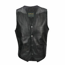 Mens Real Leather Waistcoat Black Retro Biker Style Smart Casual Motorbike Vest