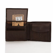 Men's Leather ID credit Card holder Clutch Bifold Coin Purse Wallet Coin Pockets
