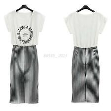 Women Slim Short Sleeve Shirt Dress Striped Crew Neck Casual Long Pencil Dress