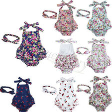 Summer Toddler Baby Girls Floral Dress Tutu Romper Headband Outfits Headband Set