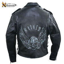 Xelement Men's Black Distressed-Leather Jacket w/Embossed Flying Skull B96150