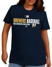 Milwaukee Brewers MLB Authentic Collection On Field Womens Shirt Navy Plus Sizes