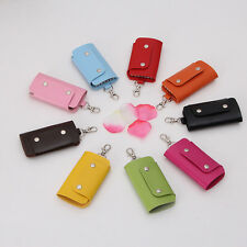 Neutral PU Leather Key Chain Accessory Pouch Bag Wallet Case Key Holder