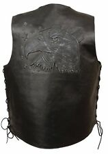 Mens Black Solid Leather Vest w Embossed Eagle Head, Stars