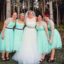 Plus Size Short Evening Cocktail Bridesmaid Dress Formal Wedding Party Prom Gown