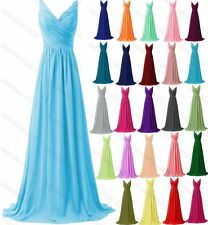 Sexy V-Neck Bridesmaid Formal Ball Gown Party Chiffon Evening Prom Dress AU 6-22