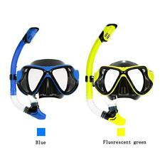 ADULT SCUBA SNORKELING SWIMMING SET TEMPERED GLASS DIVING MASK GOGGLES NEW Z8G7
