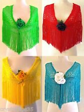 New Beautiful Lace Flamenco Dance Shawl Red Yellow Green or Turquoise Large & XL