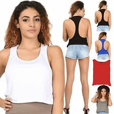 Womens Ladies Plain Racer Muscle Back Deep Side Cut Out Cropped Tank Vest Top