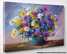 X LARGE CANVAS Oil Painting Stunning Bouquet of Wildflowers Photo Wall Art A1