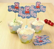 24 pcs Peppa pig  Cup Cake Topper Cute Decoration Birthday Party Supplies