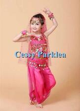 Kids Girls Belly Dance Costume Bollywood Sequins Harem Pant and Top Set S-L