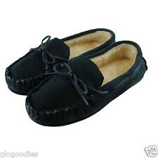 Ladies Laced Hardsole Moccasins - Fur Lined Slippers - Navy