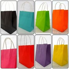 100 Small Coloured Paper Gift Party Carry Bags, 8 Colour Choices 250 x 350 x 90