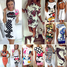 Fashion Womens Tunic Summer Short Mini Dress Party Club Top Bodycon Playsuit New