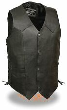 Men's Promotional Grade Split Skin Black Side Lace Leather Vest w/ Snap Front
