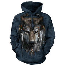 The Mountain DJ FEN Native American Wolf Big Face Hooded Sweatshirt S-2XL NEW