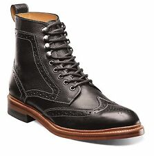 Stacy Adams Mens Black Leather Madison Lace up Ankle Wing Tip Trendy Medium Boot