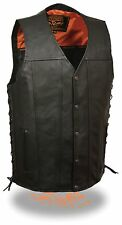 Mens Black Leather Straight Bottom Snap Vest w Side Lace & Gun Pockets