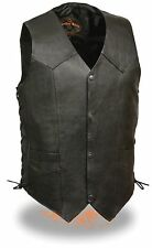 Men's Black Leather Classic Look Biker Vest w/ Side Lacing