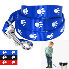 Nylon 48'' Dog Puppy Pet Walking Leads Leash with Paw Print Adjustable Durable