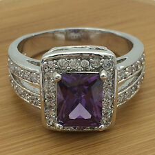Purple Amethyst CZ Engagement Band 10KT White Gold Plated Wedding Ring Size 6-10