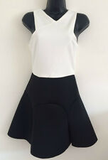 Ex Topshop Size 4-12 Scuba Skater Skirt Dress White & Black Fit & Flare Dress