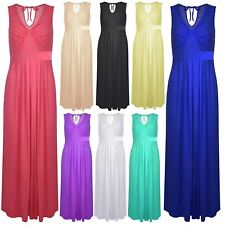 Womens Pleated Sleeveless Full Length Ladies Tie Back V Neck Flared Maxi Dress