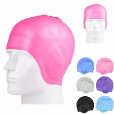 Fashion Adults Waterproof Silicone Stretch Swim Long Hair Cap Hat With Ear Cup