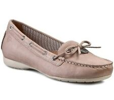 Tamaris Women's UK 5 to 8 Nude Leather Moccasin Loafer Boat Style New Shoes